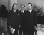Harry Hopkins, Steve Early, and Chip Bohlen at Livadia Palace, Krym, Russia, Feb 1945