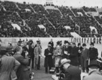 Harry Hopkins speaking at the dedication ceremony of LSU Stadium, Baton Rouge, Louisiana, United States, 28 Nov 1936