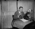 Harry Hopkins speaking to a radio audience, Washington, United States, 11 Oct 1936