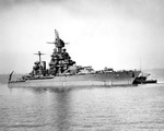 Battleship USS Maryland at Bremerton, Washington, United States 5 Aug 1945, ten days before war's end.
