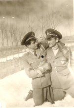 Stefanica Paunescu with a friend in snowy weather, 1940s