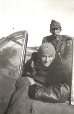 Stefanica Paunescu in the cockpit of his FN.305 aircraft, 1940s, photo 2 of 2