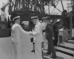 Commissioning ceremony of USS New Jersey, Philadelphia Navy Yard, Pennsylvania, United States, 23 May 1943, photo 06 of 25; note Captain Carl Holden on left