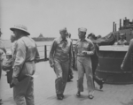 Admiral Raymond Spruance and Admiral Chester Nimitiz aboard USS New Jersey, date unknown, photo 3 of 4