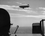 Airship flying near USS New Jersey, Pacific Ocean, 21 Jul 1943