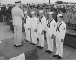 Captain Carl Holden at an award ceremony aboard USS New Jersey, 24 Jul 1943, photo 1 of 2