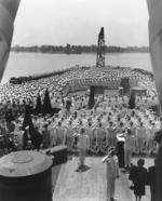 Officers saluting during the commissioning ceremony of USS New Jersey, Philadelphia Navy Yard, Pennsylvania, United States, 23 May 1943