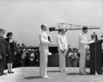 Navy chaplain offering the invocation at the commissioning ceremony of USS New Jersey, Philadelphia Navy Yard, Pennsylvania, United States, 23 May 1943