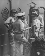 Officers aboard USS New Jersey, date unknown