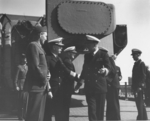 Admiral William Leahy and Captain Carl Holden aboard USS New Jersey, date unknown