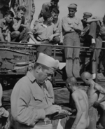Public humiliation of Japanese prisoners of war aboard USS New Jersey, Dec 1944, photo 2 of 6