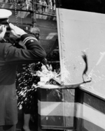 Christening of battleship New Jersey by Carolyn Edison, wife of New Jersey Governor and former Secretary of the Navy Charles Edison, Philadelphia Navy Yard, Pennsylvania, United States, 7 Dec 1942