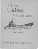 Program of the first anniversary celebration aboard USS New Jersey, 23 May 1944, page 1 of 3