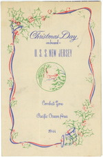 Program of the Christmas holiday celebration aboard USS New Jersey, Dec 1944, page 1 of 3