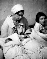 Mothers in a makeshift maternity ward, Warsaw, Poland, Sep 1939