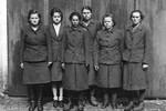 Charlotte Pilquet, Ruth Astrosini, Juana Bormann, Gertrude Feist, Gertrude Sauer, and Ida Förster in captivity, 2 May 1945