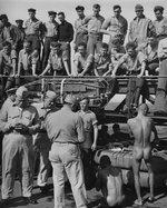 Public humiliation of Japanese prisoners of war aboard USS New Jersey, Dec 1944, photo 1 of 6