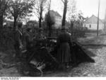 Hungarian troops with a 7.5cm Pak 40 antitank gun, suburb of Budapest, Hungary, Nov 1944