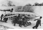 V-1 flying bomb being transported via a cart, circa 1944-1945