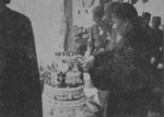 Song Meiling cutting a birthday cake for Chiang Kaishek, Luoyang, Henan Province, China, 31 Oct 1936