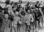 Prisoners celebrating the arrival of United States Army troops, Dachau Concentration Camp, Germany, 29 Apr 1945
