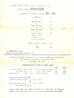 Menu from A. Firpo Ltd. of Calcutta, 9 Nov 1944, page 3 of 3