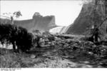 Damaged Möhnesee dam, viewed from a short distance down the Möhne River, Germany, late May 1943