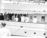 President Franklin Roosevelt (striped tie) with Eleanor Roosevelt (far left) and King George VI and Queen Elizabeth of the United Kingdom (between the Roosevelts) aboard the yacht Potomac, Washington, DC, 9 Jun 1939