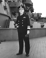Commander of United States Naval Forces in the Atlantic Admiral Harold Stark aboard the battleship USS South Dakota at Scapa Flow, Orkney Islands, Scotland, United Kingdom, 26 Jun 1943.