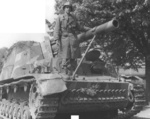 US 69th Infantry Division Captain Hans Trefousse posing with a SdKfz 165 self-propelled gun that he had captured by persuading the German crew to surrender on 25 Apr 1945, near Wurzen, Sachsen, Germany