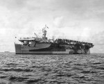 Independence-class carrier USS Monterey at anchor at Eniwetok, Marshall Islands, 6 Sep 1944. Her paint scheme is Measure 33, Design 3d. Photo 1 of 2.