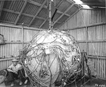 """The Gadget"" atomic device on 15 Jul 1945 as it being readied for the Trinity Test the following day, Alamogordo, New Mexico, United States."