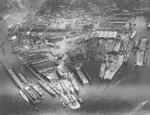 Aerial view of Blohm und Voss shipyard, Hamburg, Germany, 1922; photo taken from a dirigible at altitude of 120 meters
