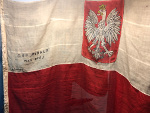 Battle flag of the destroyer ORP Piorun (Thunderer), famous for engaging the battleship Bismarck, on display at ORP Blyskawica, Gdynia, Poland, 15 Jun 2019