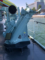 Side mounted depth charge launcher, ORP Blyskawica, Gdynia, Poland, 15 Jun 2019; it was refitted during the Soviet era, but the King George VI initials from 1942 remained