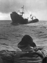 British motor merchant vessel Beacon Grange sinking after being struck by German submarine U-552, south of Iceland, 27 Apr 1941