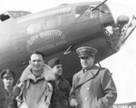 "Brigadier General Haywood Hansell and Colonel Curtis LeMay in front of B-17F ""Dry Martini – The Cocktail Kids 4"" at Chelveston, England, on the occasion of Hansell's last combat flight, 4 May 1943."