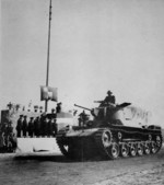 Tang Enbo inspecting a military police parade, Shanghai, China, 18 Feb 1949; note captured Japanese Type 97 Chi-Ha tank