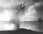 Shore launch test of the Mousetrap anti-submarine rocket system, Key West, Florida, United States, 14 Aug 1942