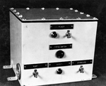 Mousetrap rocket controller box, Key West, Florida, Sep 1942. It is fairly simple on the front but it is a complex tangle of wires inside designed to ignite each rocket in sequence with a fraction of a second in between
