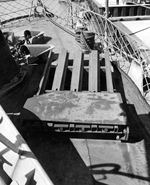 Mousetrap Anti-Submarine rocket system being installed on United States Navy sub chaser SC-274 for testing, Key West, Florida, United States, 26 Sep 1942. Photo 1 of 7.