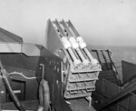 Mousetrap anti-submarine rocket launchers aboard a United States Navy Landing Craft Support boat, 20 Jan 1943, location unknown.
