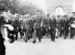 Charles de Gaulle and his entourage at the Arc de Triomphe, Paris, France, 26 Aug 1944