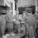 Charles de Gaulle, Philippe Leclerc, and others at Montparnasse railway station, Paris, France, 25 Aug 1944
