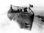 Launching of Console Generale Liuzzi, Tosi Shipyard at Taranto, Italy, 17 Sep 1939
