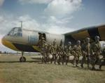 Paratroops leaving an Airspeed Horsa training aircraft of No. 21 Heavy Glider Conversion Unit at Brize Norton, England, United Kingdom, 24 Jun 1943. The paratroops were taking part in a press day exercise.