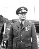 Commodore Leslie Gehres, commander of Fleet Air Wing Four, posing after being awarded the Distinguished Flying Cross, Adak, Alaska, mid-1944.