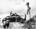 American M4 Sherman tank on Angaur Island in the Palau Group, Sep 1944.