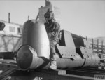 Commander of Chariot manned torpedo wearing Sladen suit and oxygen apparatus, Rothesay, Scotland, United Kingdom, 3 Mar 1944, photo 2 of 2