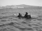 Chariot manned torpedo with crew, Rothesay, Scotland, United Kingdom, 3 Mar 1944, photo 1 of 3